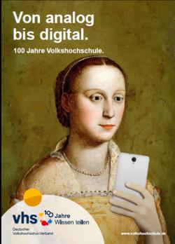 Älteres Gemälde einer Frau mit Smartphone © DVV